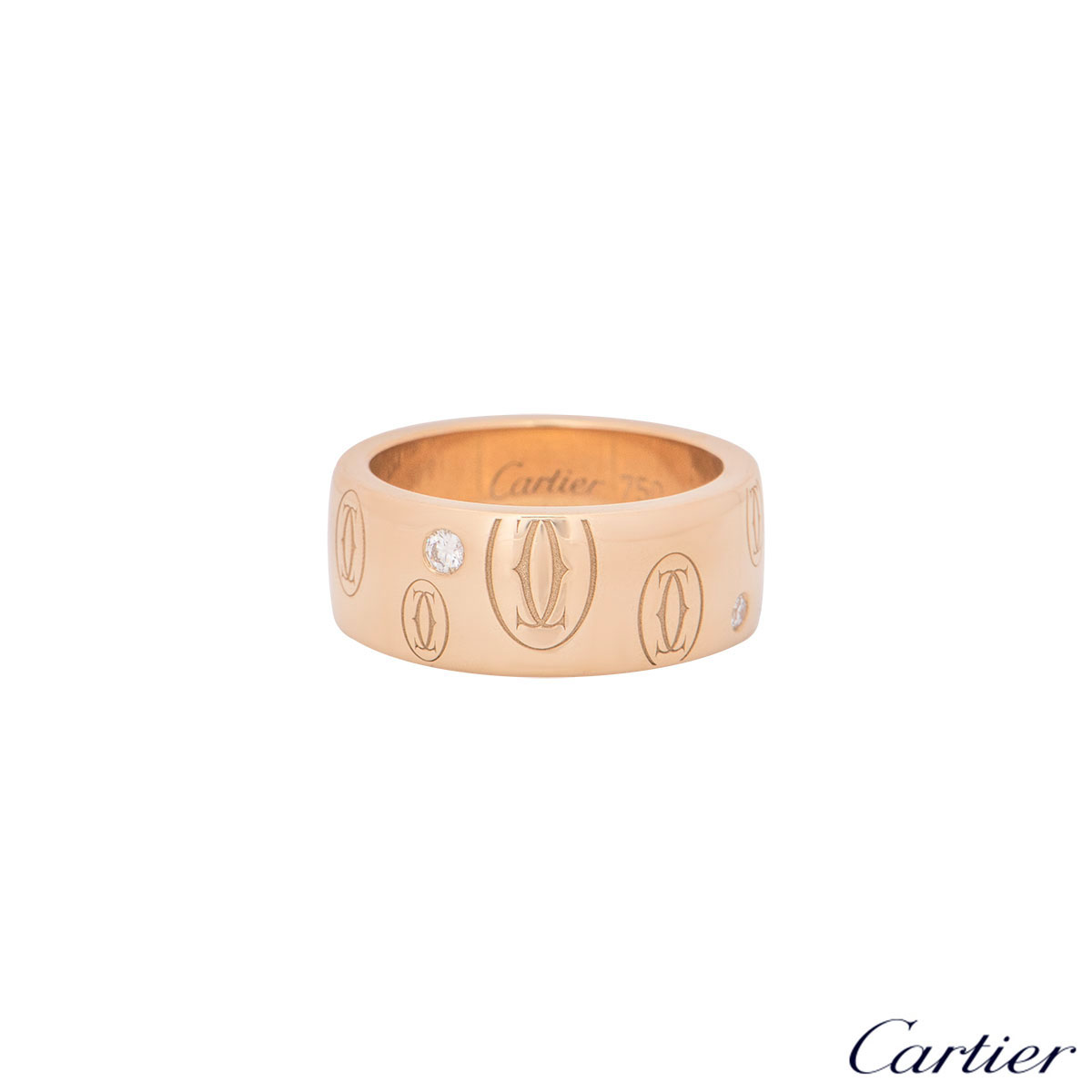 Cartier Rose Gold Diamond Set Happy Birthday Ring Size 52